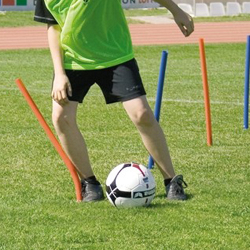 Flexibele slalomstangen met grondpin.minimaal blessuregevaar,erg elastisch en buigzaam.materiaal zacht kunststof,hoogte 60 cm. per stuk