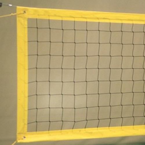 Beachvolleybalnet FIVB.  Materiaal: geslagen polyethyleen.  Afmeting: 8,50 x 1,00 meter.  Maaswijdte: 100 x 100mm.  Draaddikte: ca4 mm.  Afwerking: 15 cm geel PVC -band rondom: boven 4 mm kevlar en onder 6 mm spanlijn. Prijs per stuk.