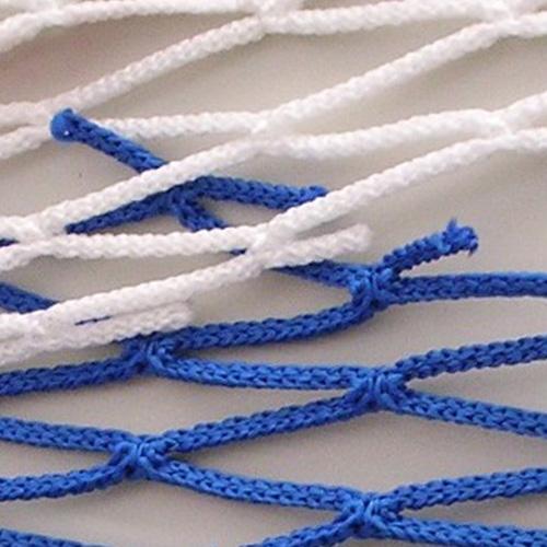 Jeugdvoetbaldoelnet met een afmeting van 5 x 2 x 0,80 x 1,50 m. Mazen 12 x 12 cm,draadikte 4 mm knooploos polypropyleenkoord, met een spanlijn in het dak. Kleur blauw/wit.Prijs per stel